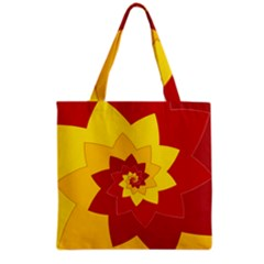 Flower Blossom Spiral Design  Red Yellow Grocery Tote Bag by designworld65