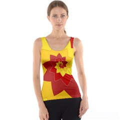 Flower Blossom Spiral Design  Red Yellow Tank Top by designworld65