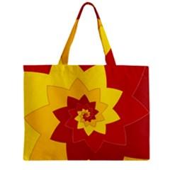 Flower Blossom Spiral Design  Red Yellow Mini Tote Bag by designworld65