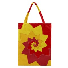 Flower Blossom Spiral Design  Red Yellow Classic Tote Bag by designworld65