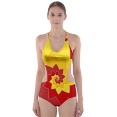 Flower Blossom Spiral Design  Red Yellow Cut Out One Piece Swimsuit by designworld65