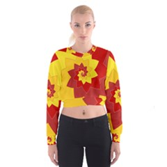 Flower Blossom Spiral Design  Red Yellow Women s Cropped Sweatshirt by designworld65