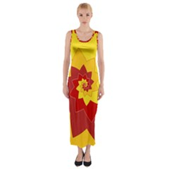 Flower Blossom Spiral Design  Red Yellow Fitted Maxi Dress by designworld65