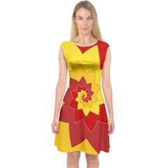 Flower Blossom Spiral Design  Red Yellow Capsleeve Midi Dress by designworld65