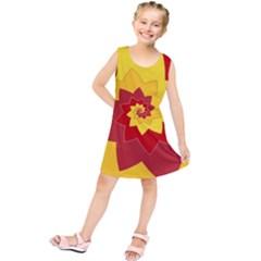 Flower Blossom Spiral Design  Red Yellow Kids  Tunic Dress by designworld65