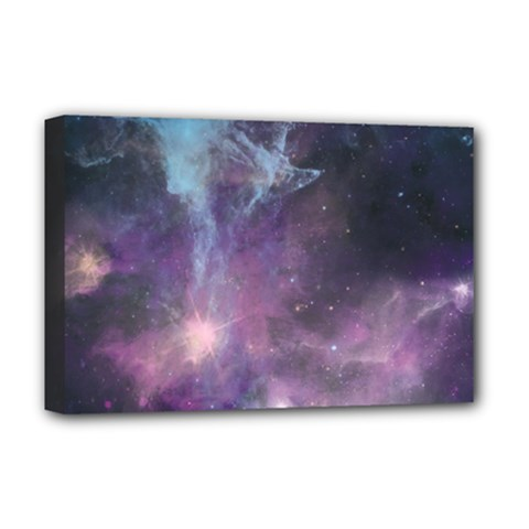 Blue Galaxy  Deluxe Canvas 18  X 12   by DanaeStudio
