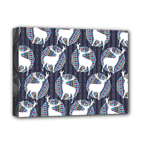 Geometric Deer Retro Pattern Deluxe Canvas 16  X 12   by DanaeStudio