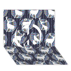 Geometric Deer Retro Pattern Peace Sign 3d Greeting Card (7x5) by DanaeStudio