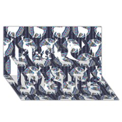 Geometric Deer Retro Pattern Best Wish 3d Greeting Card (8x4) by DanaeStudio
