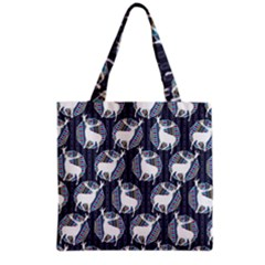 Geometric Deer Retro Pattern Grocery Tote Bag by DanaeStudio