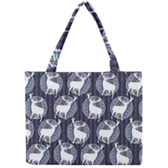 Geometric Deer Retro Pattern Mini Tote Bag by DanaeStudio