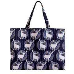 Geometric Deer Retro Pattern Medium Zipper Tote Bag by DanaeStudio