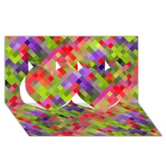 Colorful Mosaic Twin Hearts 3d Greeting Card (8x4) by DanaeStudio