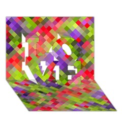 Colorful Mosaic Love 3d Greeting Card (7x5) by DanaeStudio