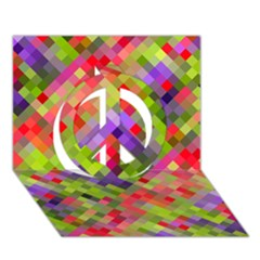 Colorful Mosaic Peace Sign 3d Greeting Card (7x5) by DanaeStudio