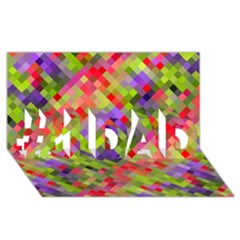 Colorful Mosaic #1 Dad 3d Greeting Card (8x4) by DanaeStudio