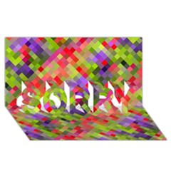 Colorful Mosaic Sorry 3d Greeting Card (8x4) by DanaeStudio