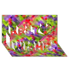 Colorful Mosaic Best Wish 3d Greeting Card (8x4) by DanaeStudio