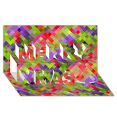 Colorful Mosaic Merry Xmas 3d Greeting Card (8x4) by DanaeStudio