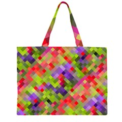 Colorful Mosaic Zipper Large Tote Bag by DanaeStudio