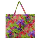 Colorful Mosaic Zipper Large Tote Bag