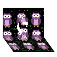 Halloween Purple Owls Pattern Ribbon 3d Greeting Card (7x5) by Valentinaart