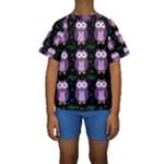 Halloween purple owls pattern Kids  Short Sleeve Swimwear