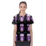 Halloween purple owls pattern Women s Sport Mesh Tee