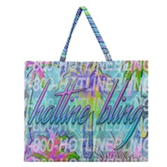 Drake 1 800 Hotline Bling Zipper Large Tote Bag by Onesevenart