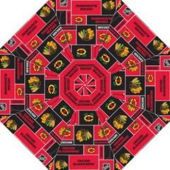 Chicago Blackhawks Nhl Block Fleece Fabric Straight Umbrellas by Onesevenart