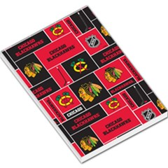 Chicago Blackhawks Nhl Block Fleece Fabric Large Memo Pads by Onesevenart