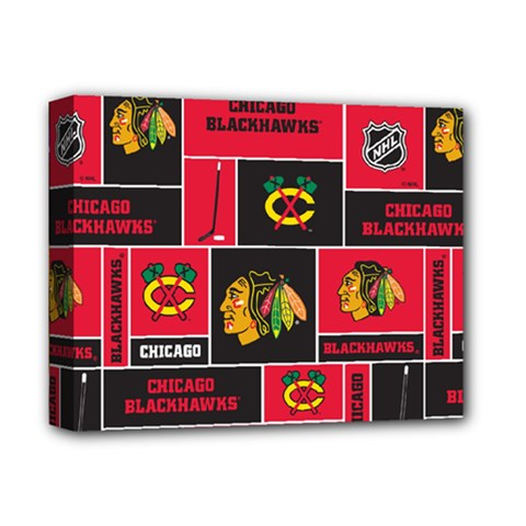 Chicago Blackhawks Nhl Block Fleece Fabric Deluxe Canvas 14  X 11  by Onesevenart