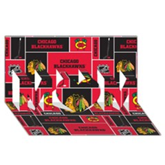 Chicago Blackhawks Nhl Block Fleece Fabric Mom 3d Greeting Card (8x4) by Onesevenart