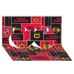 Chicago Blackhawks Nhl Block Fleece Fabric Twin Hearts 3d Greeting Card (8x4) by Onesevenart