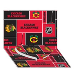 Chicago Blackhawks Nhl Block Fleece Fabric Heart Bottom 3d Greeting Card (7x5) by Onesevenart