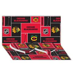 Chicago Blackhawks Nhl Block Fleece Fabric Twin Heart Bottom 3d Greeting Card (8x4) by Onesevenart