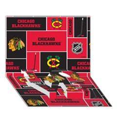 Chicago Blackhawks Nhl Block Fleece Fabric Love Bottom 3d Greeting Card (7x5) by Onesevenart