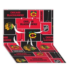 Chicago Blackhawks Nhl Block Fleece Fabric Clover 3d Greeting Card (7x5) by Onesevenart