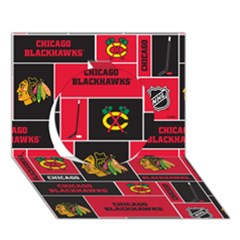 Chicago Blackhawks Nhl Block Fleece Fabric Circle 3d Greeting Card (7x5) by Onesevenart