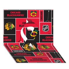 Chicago Blackhawks Nhl Block Fleece Fabric Ribbon 3d Greeting Card (7x5) by Onesevenart