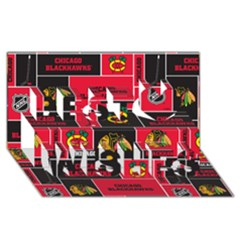 Chicago Blackhawks Nhl Block Fleece Fabric Best Wish 3d Greeting Card (8x4) by Onesevenart