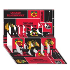 Chicago Blackhawks Nhl Block Fleece Fabric Miss You 3d Greeting Card (7x5) by Onesevenart