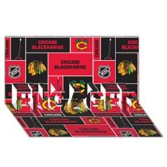 Chicago Blackhawks Nhl Block Fleece Fabric Engaged 3d Greeting Card (8x4) by Onesevenart