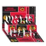 Chicago Blackhawks Nhl Block Fleece Fabric WORK HARD 3D Greeting Card (7x5)