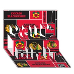 Chicago Blackhawks Nhl Block Fleece Fabric You Did It 3d Greeting Card (7x5) by Onesevenart