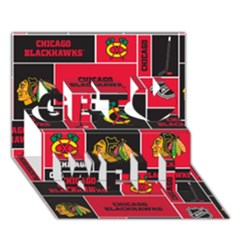 Chicago Blackhawks Nhl Block Fleece Fabric Get Well 3d Greeting Card (7x5) by Onesevenart
