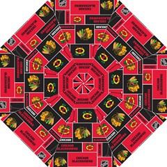 Chicago Blackhawks Nhl Block Fleece Fabric Hook Handle Umbrellas (small) by Onesevenart