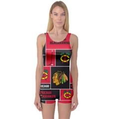 Chicago Blackhawks Nhl Block Fleece Fabric One Piece Boyleg Swimsuit by Onesevenart
