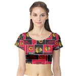 Chicago Blackhawks Nhl Block Fleece Fabric Short Sleeve Crop Top (Tight Fit)