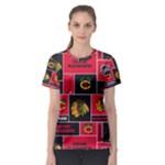 Chicago Blackhawks Nhl Block Fleece Fabric Women s Sport Mesh Tee